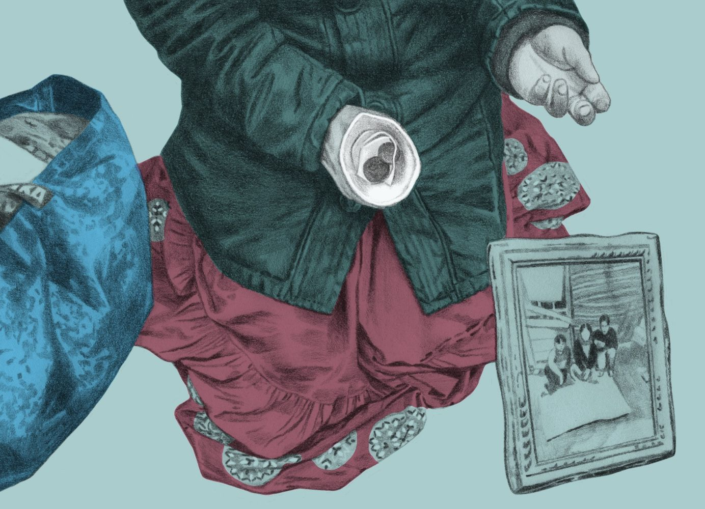Bilden föreställer en person som tigger. I sin hand håller personen en mugg med lite mynt i. Vid sina ben syns en tavla med barn på samt en fylld Ikea-påse