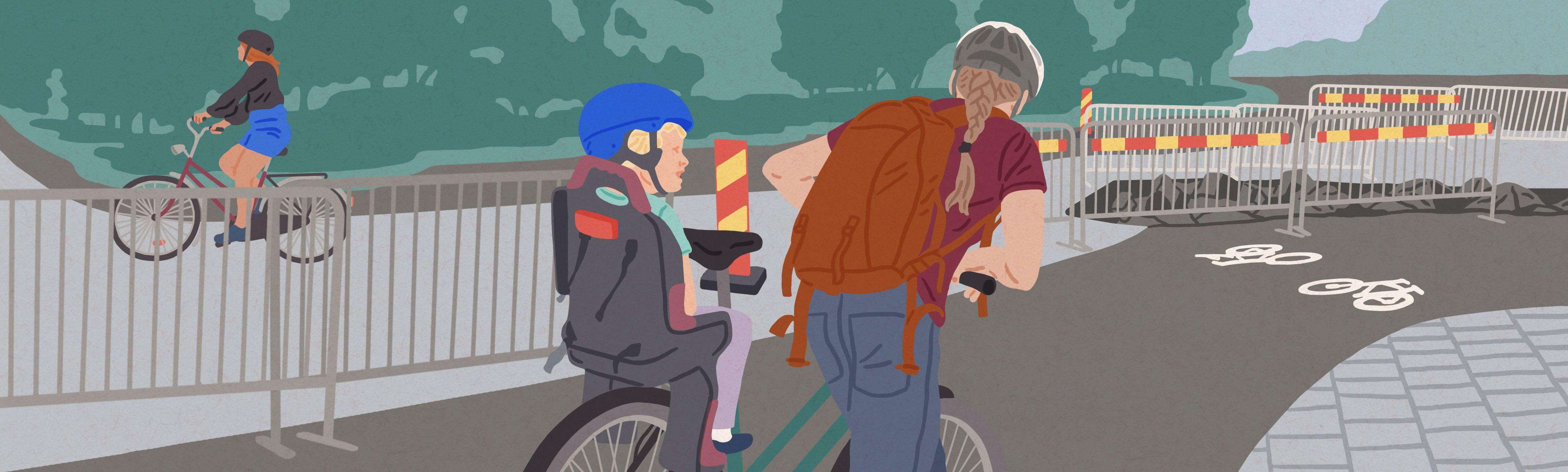 Bilden visar en förälder med sitt barn i barnstol på cykel, utomhusmiljö.